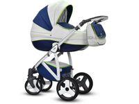Niebiesko - Biały Angelo Eco 3w1 Wózki dziecięce wielofunkcyjne Deluxe Wiejar