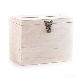 Pudełko Drewniane z okuciem zamykane na kłódkę.