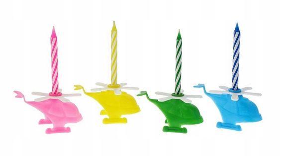 Świeczki urodzinowe Helikoptery z podstawkami 4+8