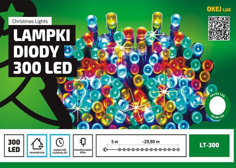 Sznur świetlny 30 M 300 Led Zewnętrzne Oświetlenie Wyłącznik Czasowy Oświetlenie świąteczne Nr 0227 Wybierz Kolor światła Ciepły