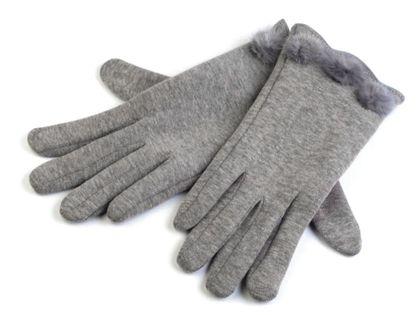 Rękawiczki damskie z dzianiny z futerkiem roz. M