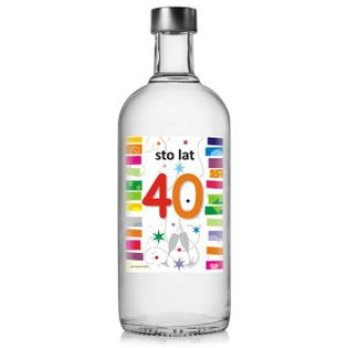 """Etykieta na butelkę """"Urodziny 40 Rainbow"""", 85x120 mm, 5 szt"""
