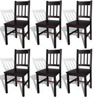 Krzesła stołowe 6 szt. brązowe drewno sosnowe VidaXL