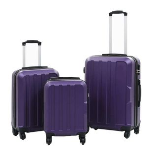Zestaw twardych walizek, 3 szt., fioletowy, ABS 91877