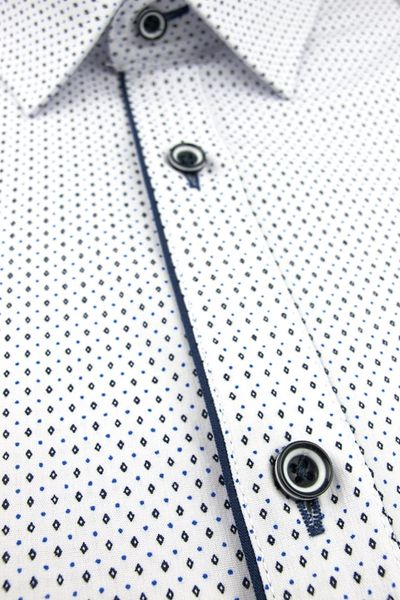 Duża Koszula Męska Modely biała we wzorki na krótki rękaw Duże rozmiary K820 6XL 50 182/188 zdjęcie 4