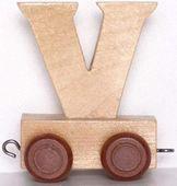 Wagonik z literką V - LITERKA element z układanki ALFABET POCIĄG