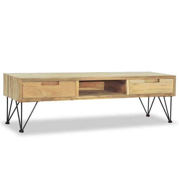 Szafka pod telewizor, 120 x 35 x 35 cm, lite drewno tekowe zdjęcie 3