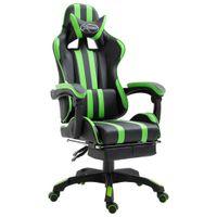 Fotel dla gracza z podnóżkiem, zielony, sztuczna skóra