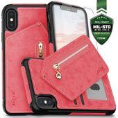 Zizo Nebula Wallet Case - Skórzane etui iPhone X z kieszeniami na karty + szkło na ekran (różowe)