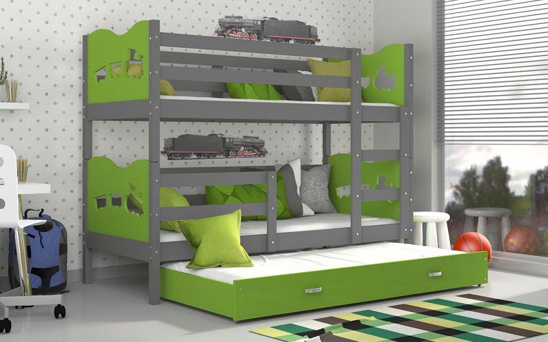 Łóżko piętrowe MAX 3 COLOR 190x80 szuflada + materace zdjęcie 1