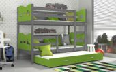 Łóżko piętrowe MAX 3 COLOR 190x80 szuflada + materace