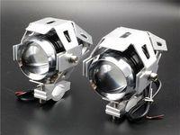 2x Halogen motocyklowy mini U5/10W led kolor srebrny + włącznik gratis
