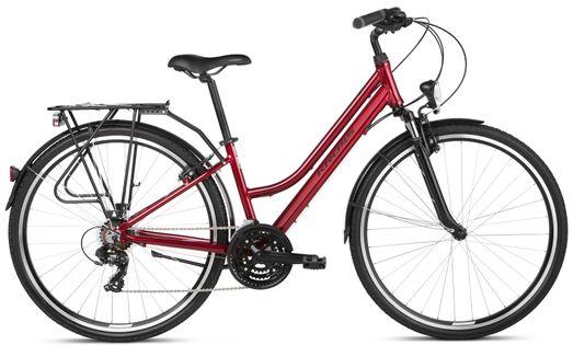 """Kross Trans 1.0 28 M 17"""" rower rubinowy/czarny połysk 12"""