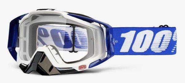 Gogle 100% RACECRAFT COBALT BLUE (Szyba Przezroczysta Anti-Fog + 10 Zrywek) (NEW)