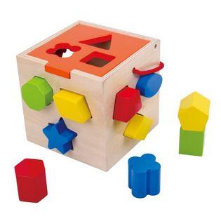 Tooky Toy Drewniany Sorter Kształtów Kostka Edukacyjna