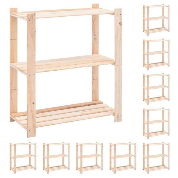 Regały z 3 półkami, 10 szt., 80x38x90 cm, sosna, 150 kg na Arena.pl