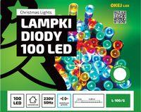 Łańcuch LED na choinkę 100 led L-100/G z gniazdem do łączenia Kolorowe