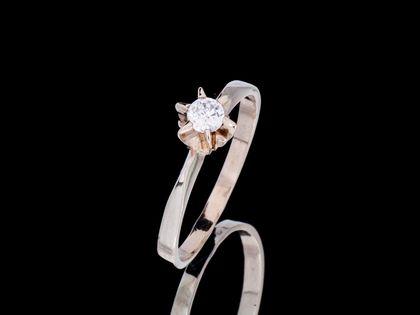 P620 Złoty pierścionek z cyrkonią. Zaręczynowy. Próba 585