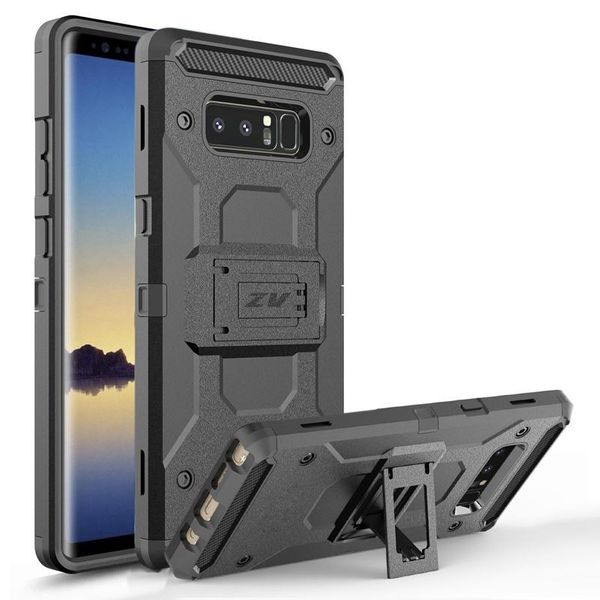 Zizo Armor Cover - Pancerne etui Samsung Galaxy Note 8 (2017) z podstawką i uchwytem do paska (Black/Black) na Arena.pl