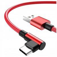 Kabel USB C szybkie ładowanie QC 2A oplot 1m 90 stopni
