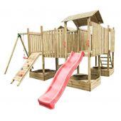 Plac zabaw 4IQ Fort Hektor XXXL drewniany dla dzieci z jedną huśtawką i ślizgiem