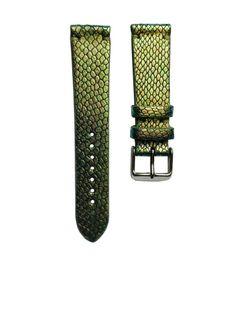 Pasek do zegarka 20mm skóra zielony metalik wąż - polskie - Lamato