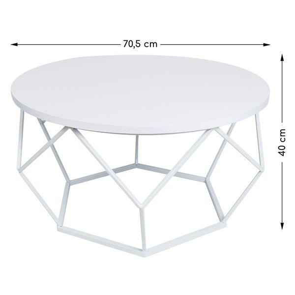 Nowoczesny stolik kawowy geometryczny Diament w kolorze białym 70 cm na Arena.pl