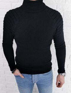 Ciepły czarny męski sweter golf z bikerem 2200 - XL