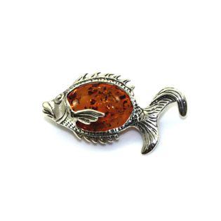 Broszka srebrna ryba z prawdziwym bursztynem