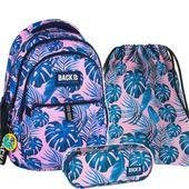 ZESTAW 3 el. Plecak szkolny młodzieżowy BackUP w niebieskie liście, MONSTERY PINK (PLB2N20SET3CZ)