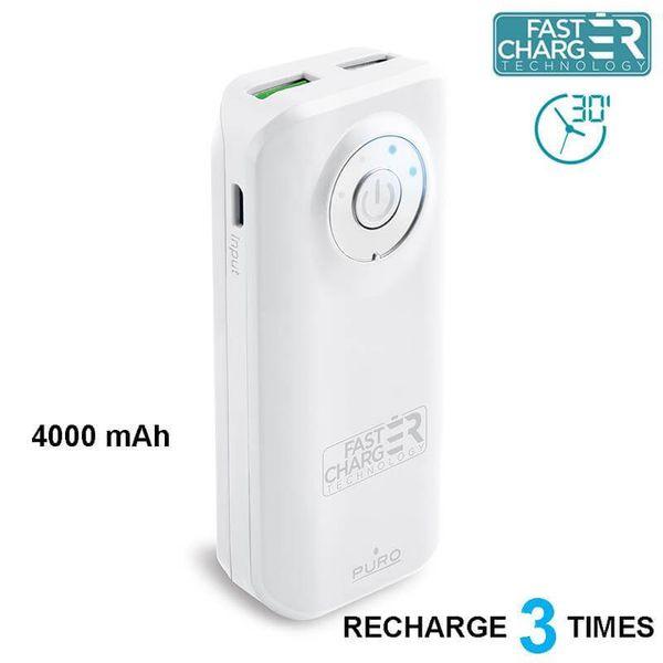 PURO Universal External Fast Charger Battery - Uniwersalny Power Bank 4000 mAh, 2 x USB, 2.4 A (biały) zdjęcie 1
