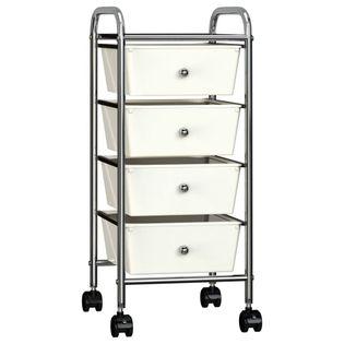 Wózek z 4 szufladami biały plastikowy VidaXL