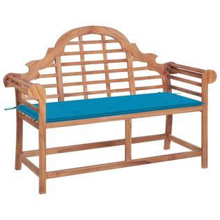Lumarko Ławka ogrodowa z niebieską poduszką, 120 cm, drewno tekowe!