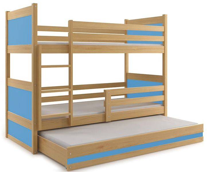 łóżko Meble Dla Dzieci Drewniane Rico Piętrowe 3 Osobowe 200x90