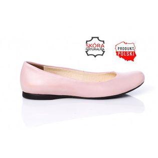 D473 Pudrowe różowe baleriny skórzane klasyczne damskie SERWIN 41