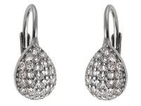 Eleganckie rodowane srebrne wiszące kolczyki łezki krople białe cyrkonie srebro 925 K2661