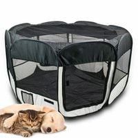 Duży kojec zagroda dla psa kota szczeniaka CZARNY hodowlany 16126