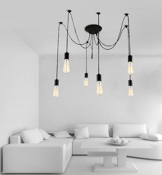 Lampa LOFT PAJĄK EDISON żyrandol NORDIC 6 ramion Dwa kolory do wyboru zdjęcie 1