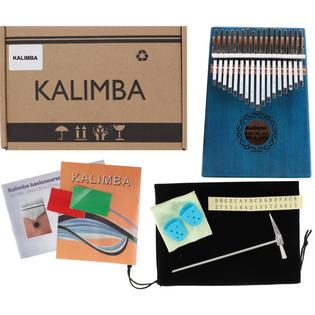 Drewniana Kalimba zazna pianino 17 klawiszy W-17T-8 niebieska