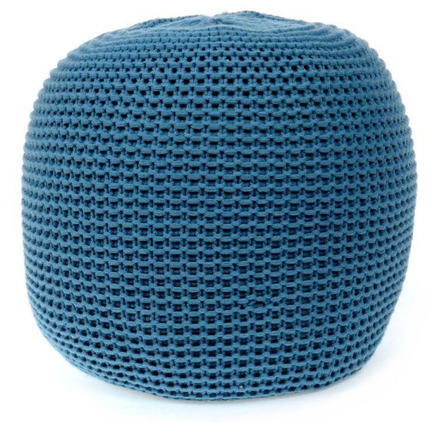 PUFA DO SALONU pufy puf kolory worek dziergana FIORD BLUE zdjęcie 1
