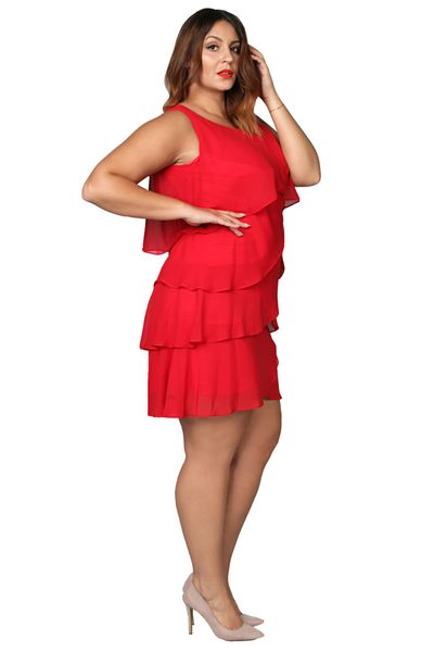 ca11353fc3 Sukienka trapez szyfonowe falbanki czerwona 42
