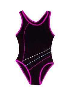 Kostium kąpielowy jednoczęściowy czarny 104-110
