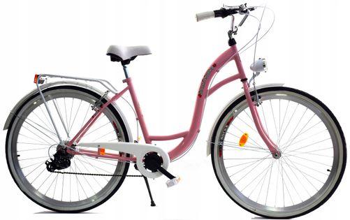 """Rower Dallas City 28"""" 7spd - różowy z białym"""