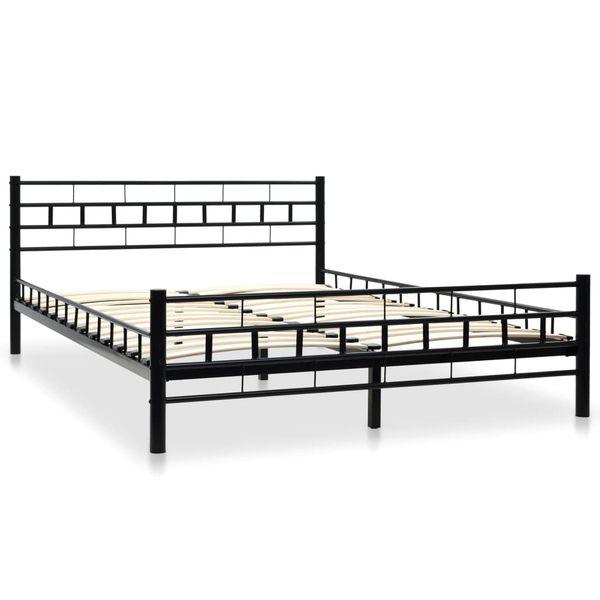 Metalowa Rama łóżka Ze Stelażem Z Listw 140x200 Cm Prostokąty Gxp 680211