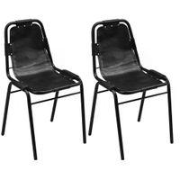 Krzesła Do Jadalni 2 Szt., 49X52X88 Cm, Skóra, Czarne