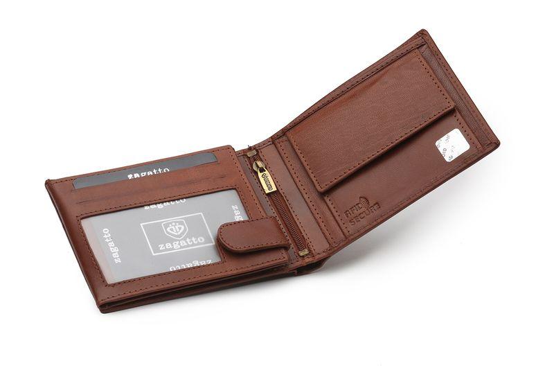3af63eae8f9e87 Portfel skórzany męski Zagatto z ochroną kart RFID BLOCK N992L GT zdjęcie 5