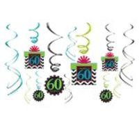dekoracja na 60 URODZINY kolorowe świderki 12 szt
