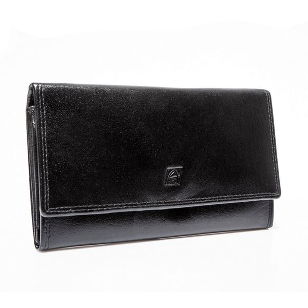 Czarny damski portfel elegancki DUŻY na bigiel skóra naturalna zdjęcie 1