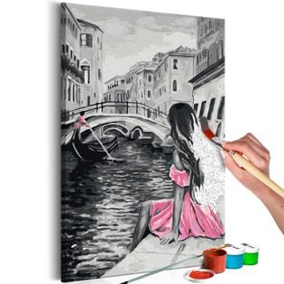 Obraz do samodzielnego malowania - Wenecja (dziewczyna w różowej sukience)