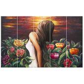 Obraz Na Płótnie 100X63 Kobieta Wśród Kwiatów zdjęcie 4